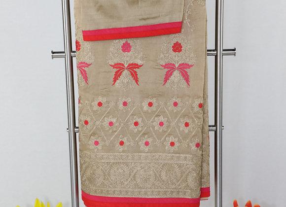 Designer Saree With Red Border