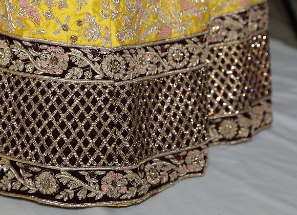 Bridal Lengha In Yellow Color