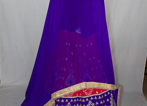 Royal Blue with Red Lehenga