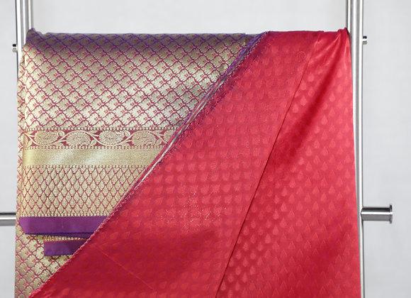 Banarsi Saree in Maroon Color With Designer Border
