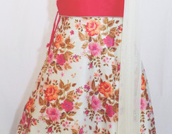 Girls Silk Lehenga with embroidered work with netted choli