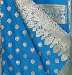 Banarsi Art Silk Saree, stitched petticoat with fall and unstitched blouse for party wear