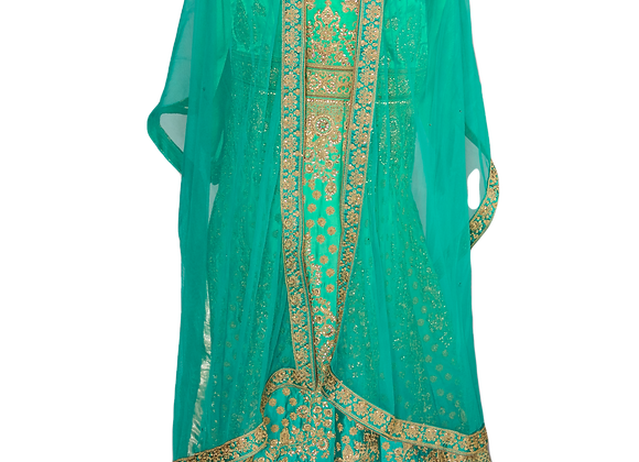 Green Golden Bridal Lahanga