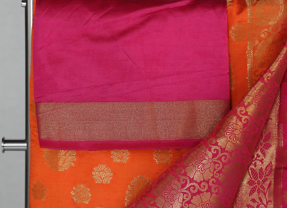 Banarsi Saree in Orange color With Pink Border