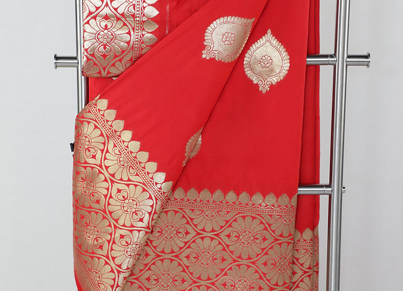 Red Color Saree with Designer Border