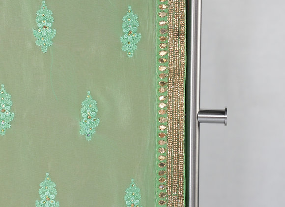 Light Green Color Saree With Pink Border
