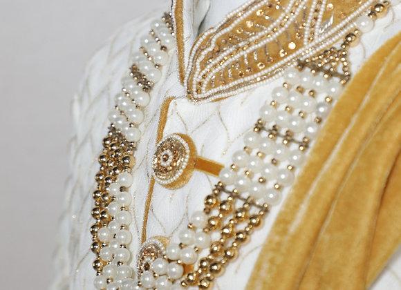 Bridal Shervani for Men in White Color