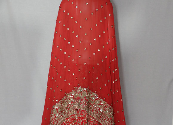 Bridal Lengha In Red Color