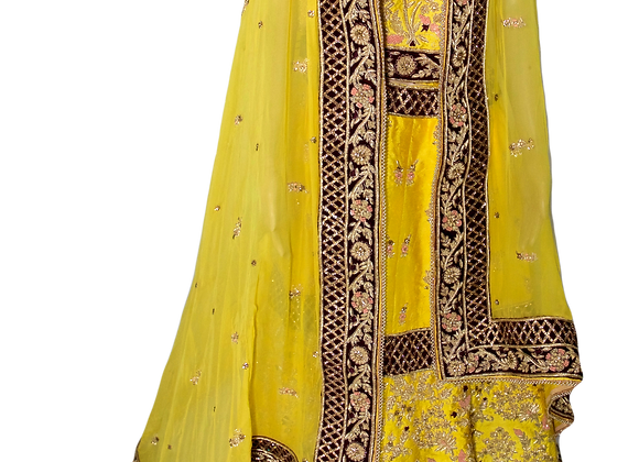 Yellow Bridal Lahanga