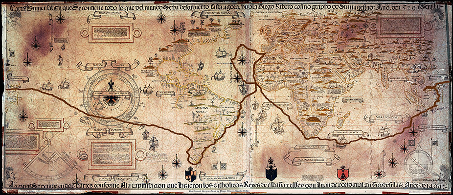 Mapamundi, Elcano, Magallanes, derrotero, ruta magallnes, ruta elcano