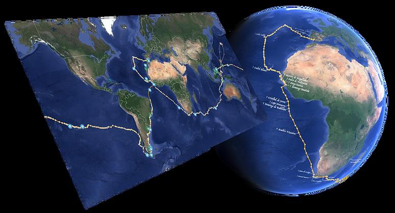 mapa de la primera vuelta al mundo en rutaelcano