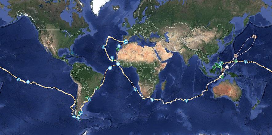 mapa primera vuelta al mundo, ruta primera vuelta al mundo,derrotro