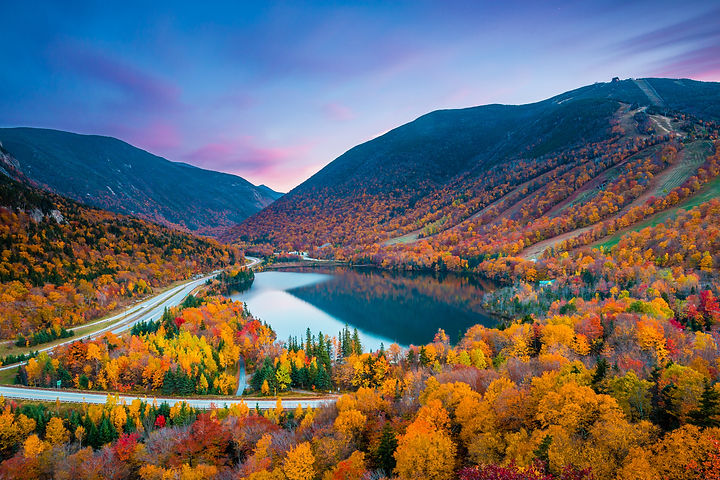 Fall colours in Franconia Notch State Pa