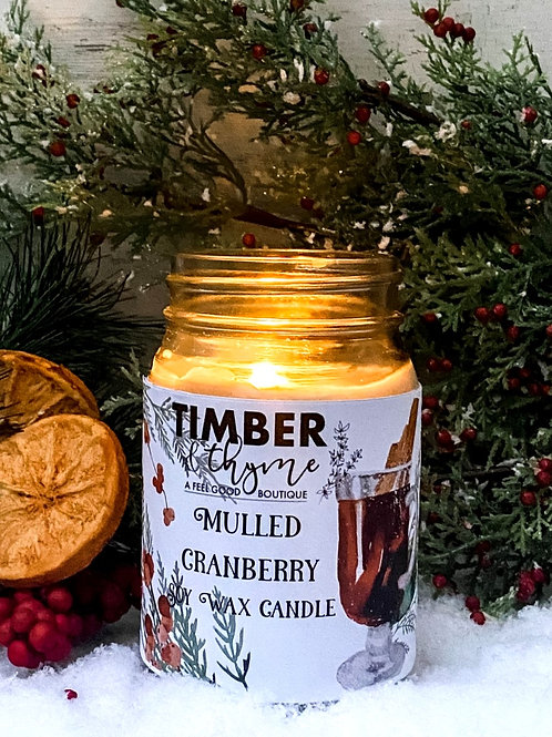 Mulled Cranberry - 100% Soy Wax Candle
