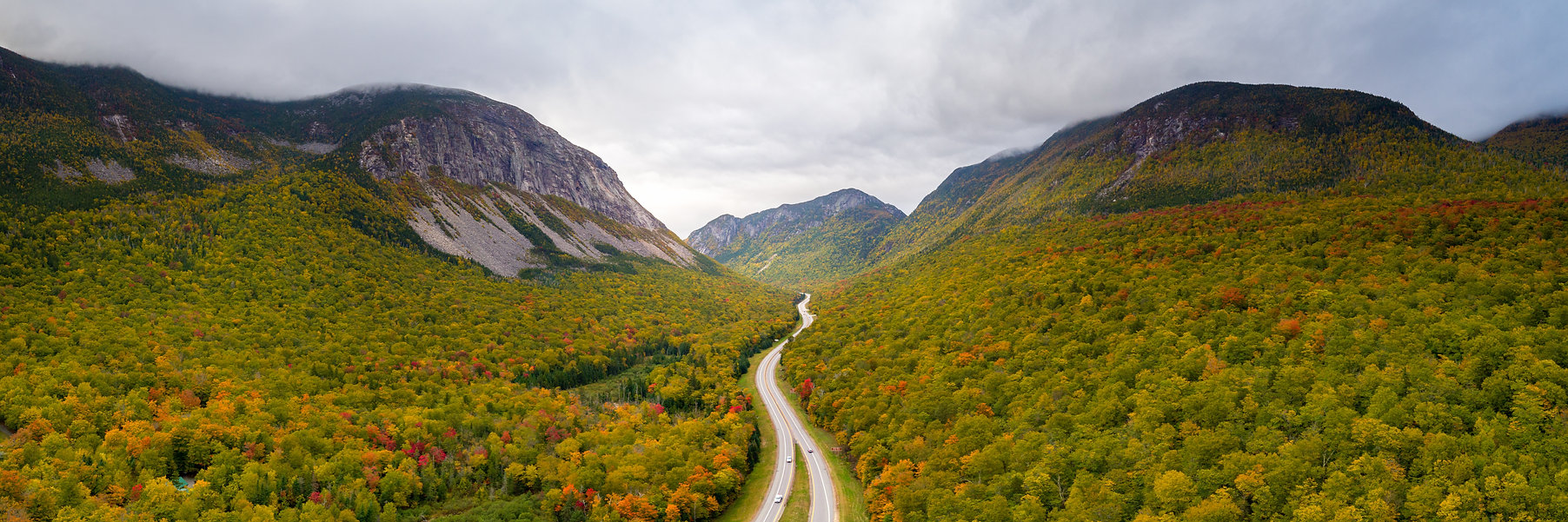 An aerial view of Franconia Notch State
