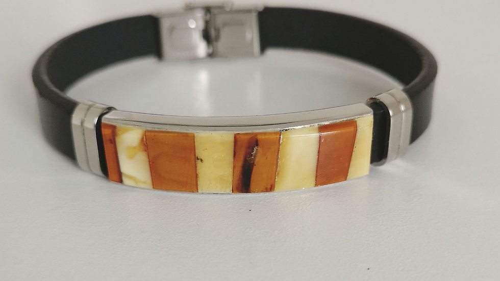 Leather and amber unisex bangle A116