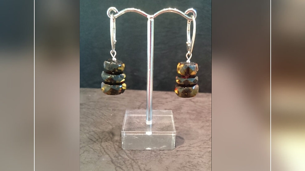 Baltic amber and silver drop earrings A327