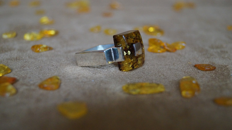 Off Set Square AmberModa Ring A321
