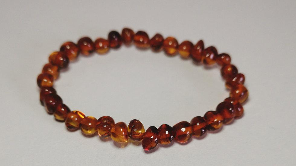 Cognac amber elasticated  teething bracelet A198