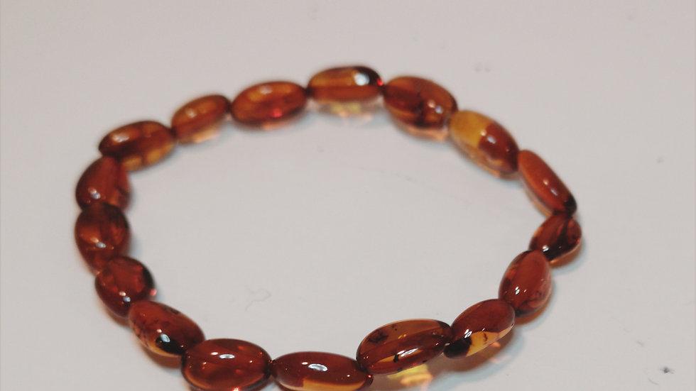 Cognac amber elasticated teething bracelet A195