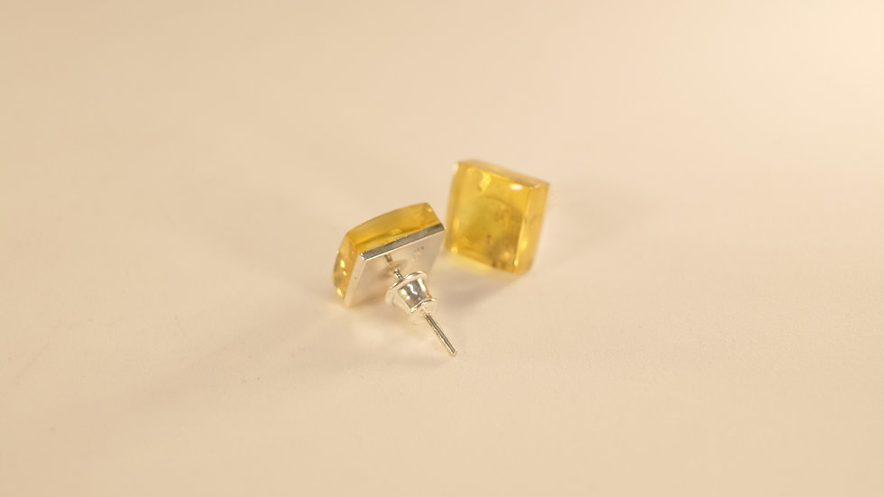 Ambrmoda Citron Baltic Amber Square Earrings A219