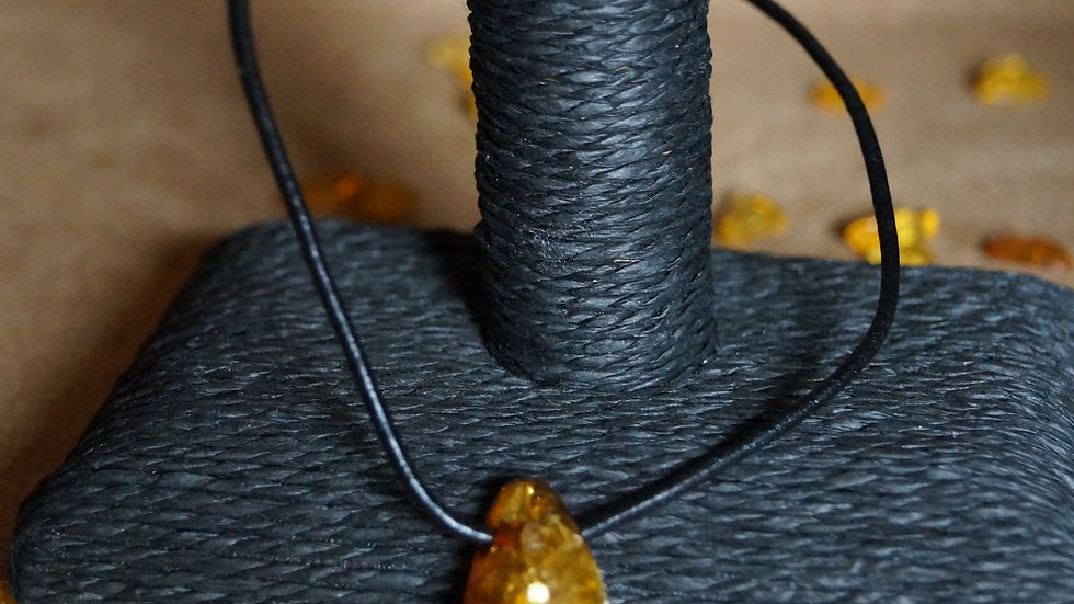 Amber And Leather Pendant A298