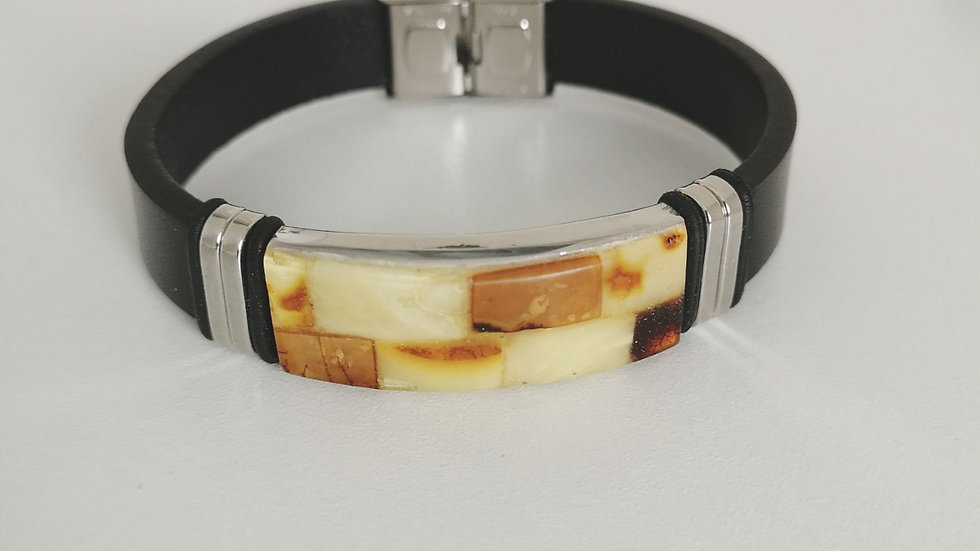 Leather and amber unisex bangle A115