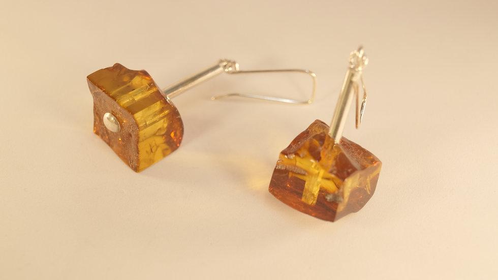 Ambermoda drop Earrings of Baltic Amber Chunks in Cognac A220