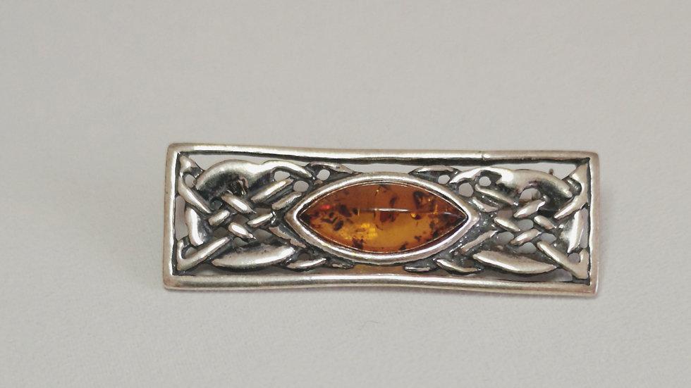 Amber celtic brooch A201