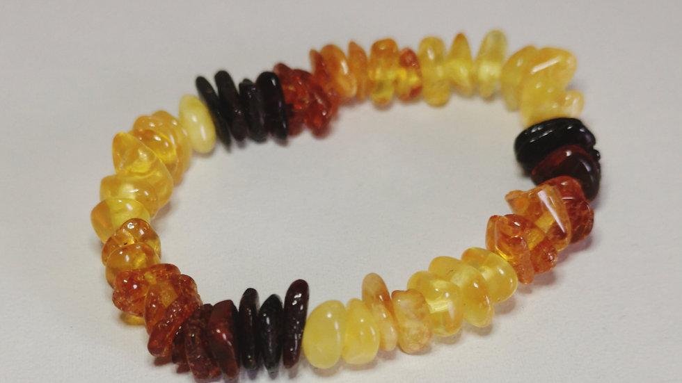 Multicoloured amber elasticated teething bracelet A194