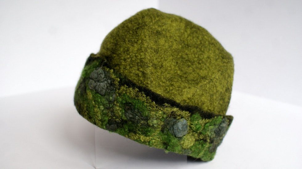 "Handmade Felted Hat ""Forest"" A343"
