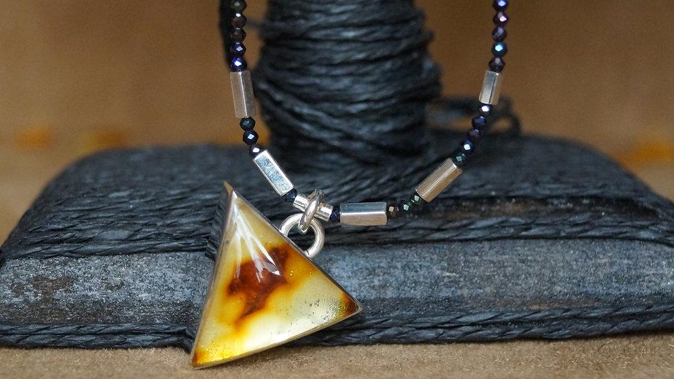 AmberModa Triangular Golden Amber And Hematite Necklace A310