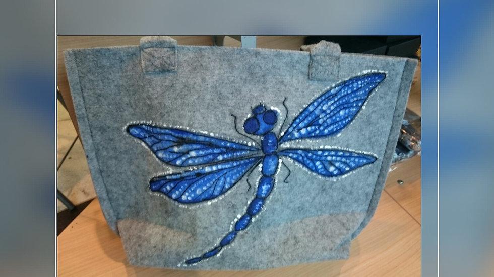 Felt bag [Blue dragonfly ] A328