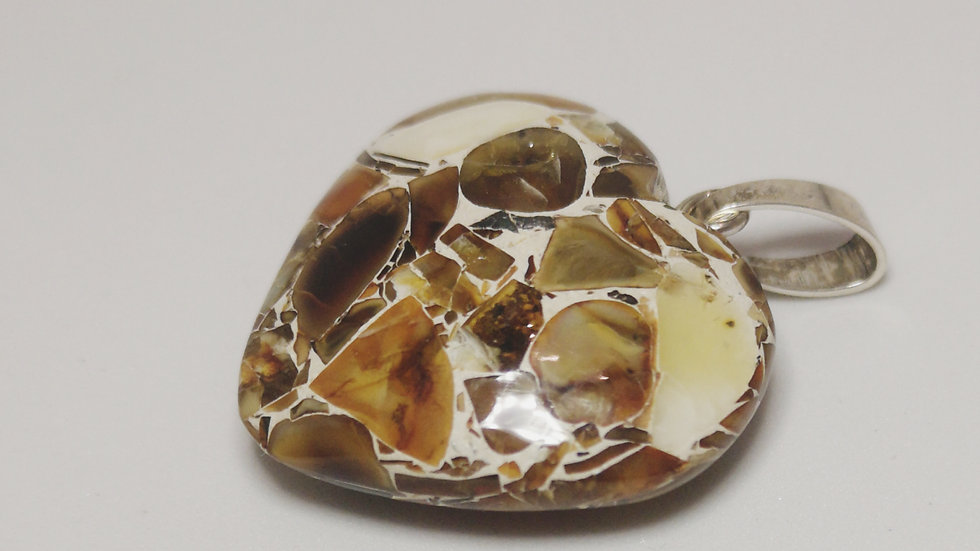 Mosiac effect amber heart pendant A128