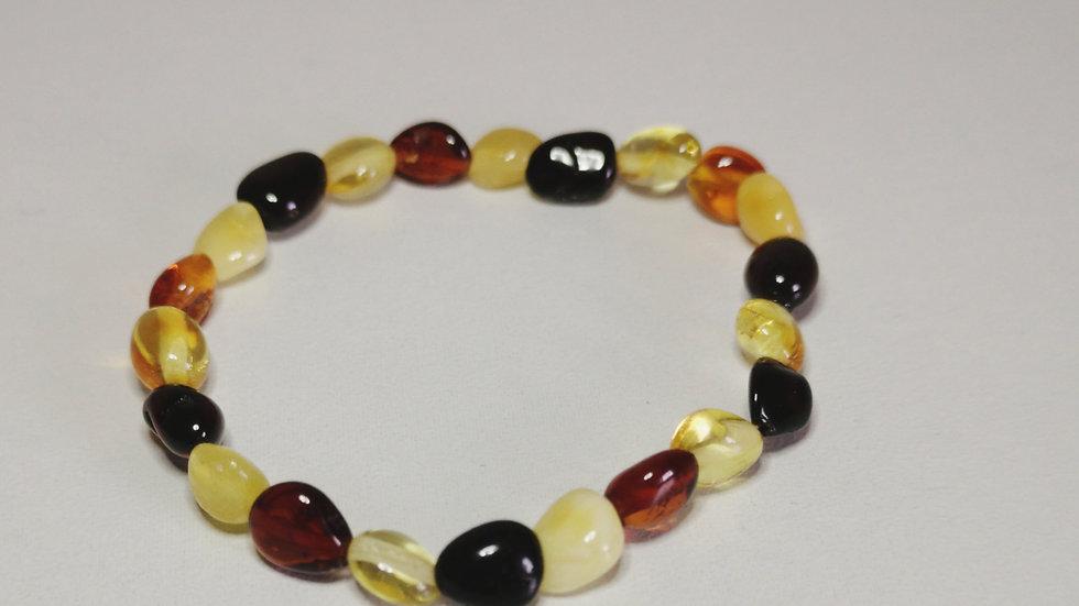 Multicoloured amber elasticated teething bracelet A196