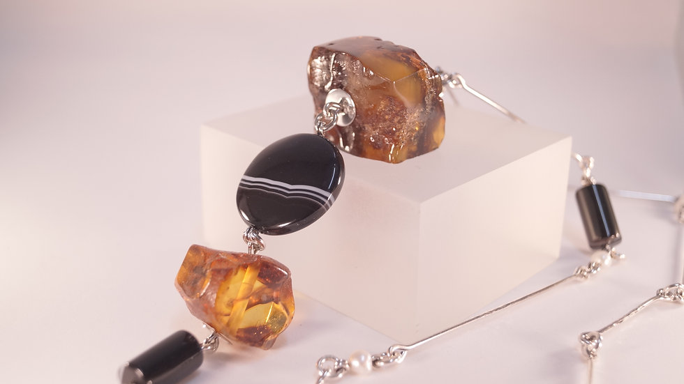 Ambermoda Necklace with Black Onyx, Cognac Baltic Amber and Freshwater Pearls