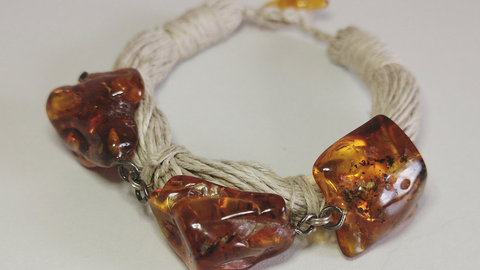 Linen and amber  bracelet A202