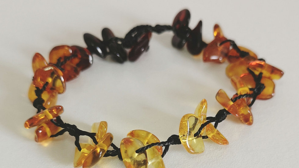 Amber and Linen Bracelet A152