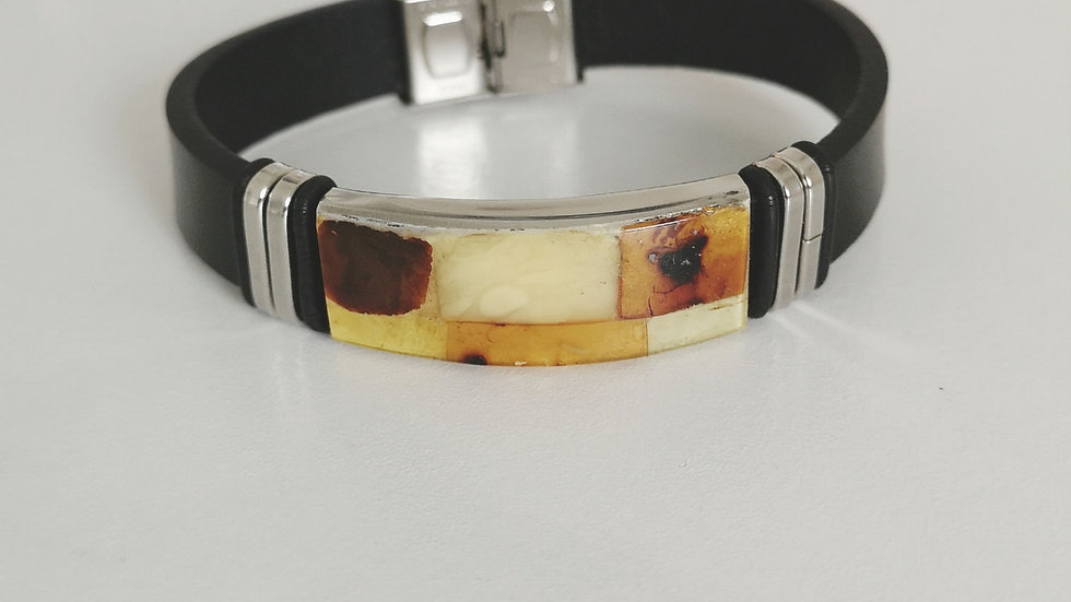 Leather and amber unisex bangle A114