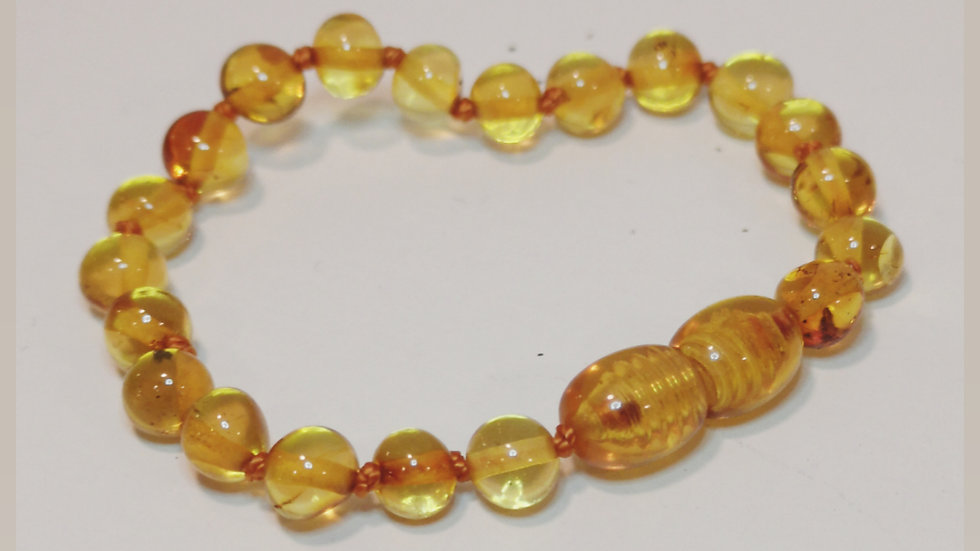 Citrine amber knotted teething bracelet A199