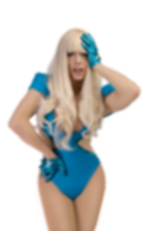 Aurora Savage Lady Gaga Drag Queen Impersonator Impersonation Poker Face The Fame Monser Music Video Blue Swimsuit