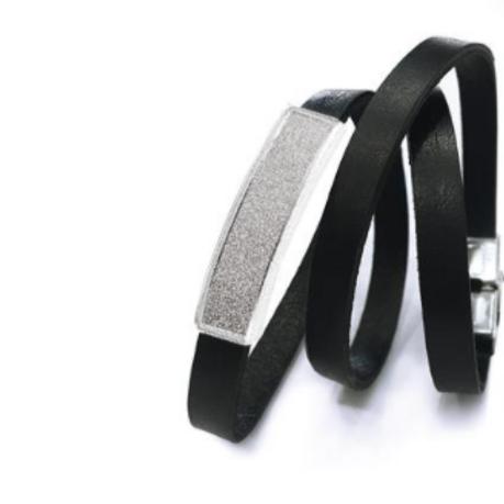 Leather Bracelet with Diamond Plate