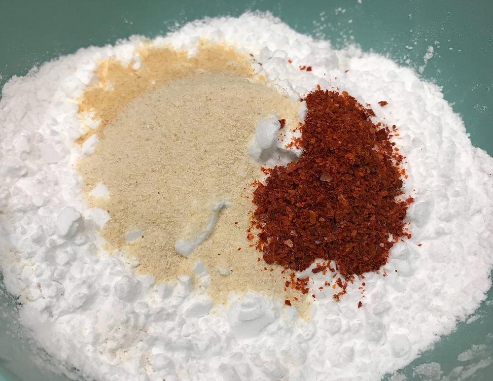 Flour and potato starch dredge