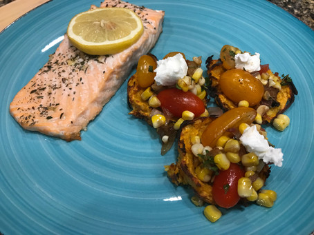 Cooking Challenge Week 3: Sweet Potato Crisps with Grilled Corn, Onion and Tomato Salad