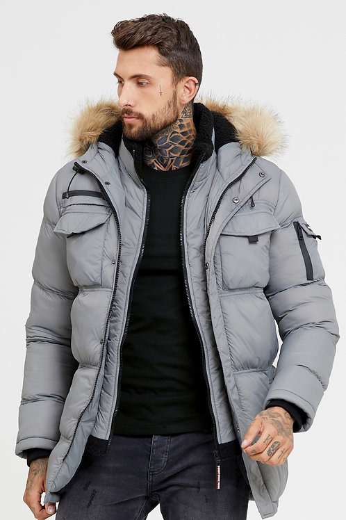 GOOD FOR NOTHING MENS Storm Grey Double Layered Parka