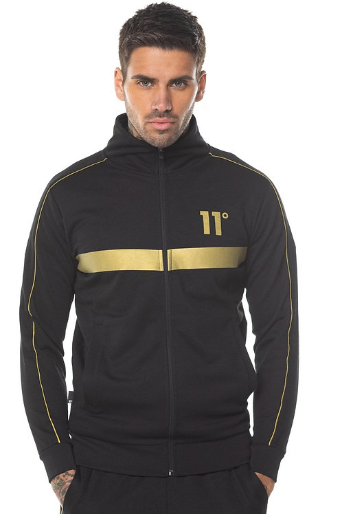 Panelled Poly Full Zip Track Top With Piping - Black/Gold