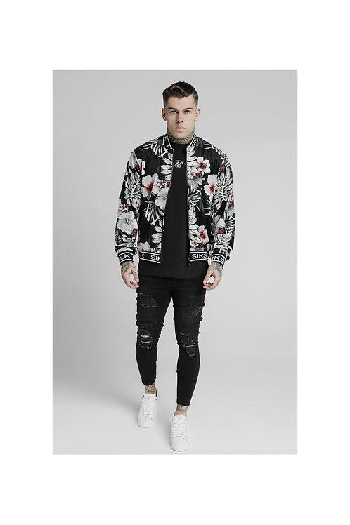 SikSilk  Floral Velour Bomber Jacket - Black