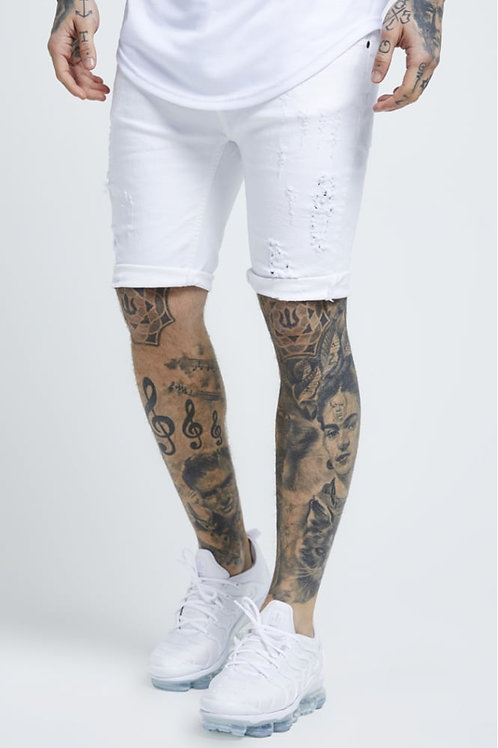 SikSilk  Distressed Skinny Shorts – White