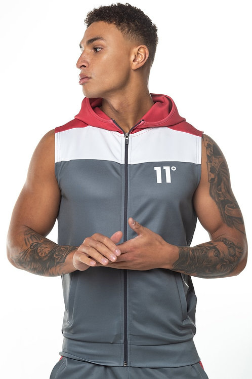 Colour Block Sleeveless Poly Track Top with Hood - Anthracite/White/Red