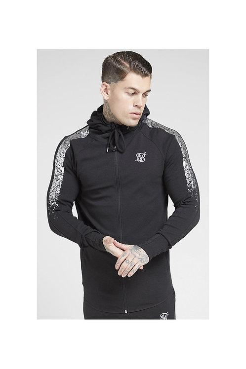 SikSilk  Fade Panel Zip Through Hoodie – Black & Silver